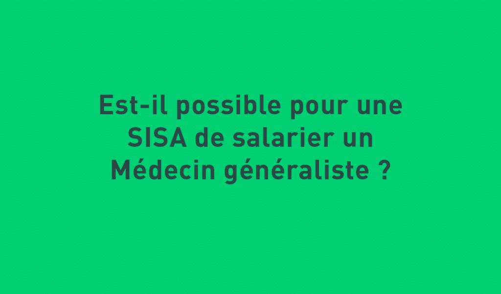 SISA et médecin généraliste