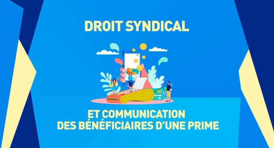 droit syndical et communication des bénéficiaires d'une prime